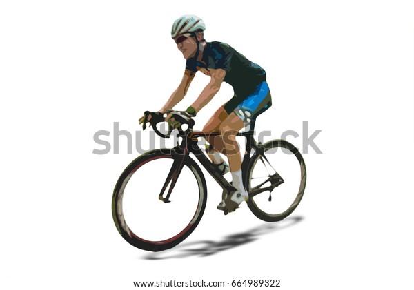 Man Riding Road Bike Cutout Filtered Stock Illustration 664989322