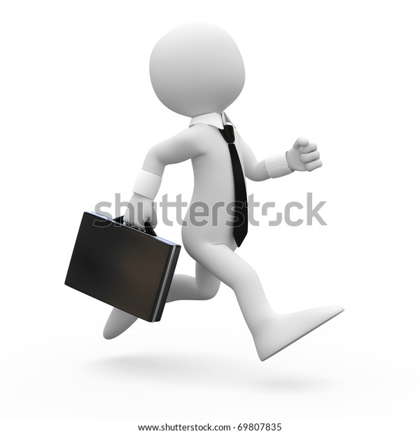 Man running with a briefcase in hand