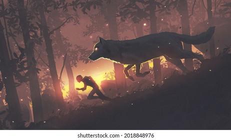 Ein Mann, der im Wald mit seinem legendären Wolf, seinem digitalen Kunststil, seinem Illustrationsgemälde im Wald läuft