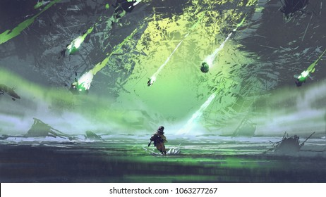 man running from meteorite or debris rocks with fire falling into the sea, digital art style, illustration painting