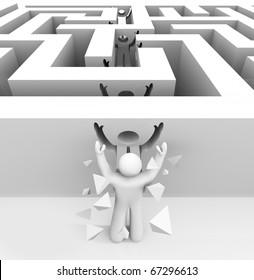 A man runs through a maze and breaks through into freedom