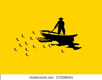 man sailing boat in yellow background stock photos, clipart