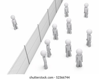 Man separated from a group of people by a wire mesh fence; 3d rendering