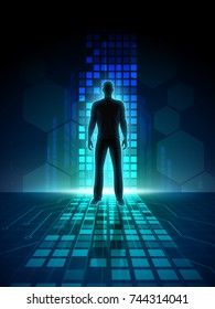 Man silhouette in a digital space. 3D illustration.