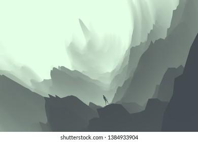 man silhouette in majestic surreal cave landscape, fantasy 3d illustration