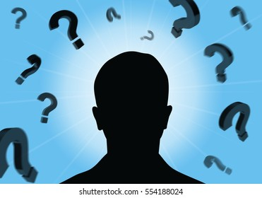 Man Silhouette, Question, faq, 3D illustration