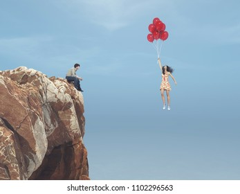 Man sits on a hill and sees a girl flying with balloons. This is a 3d render