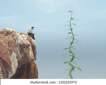 Man sitting on a rock and looking up to his big beanstalk growing up to the sky  This is a 3d render illustration