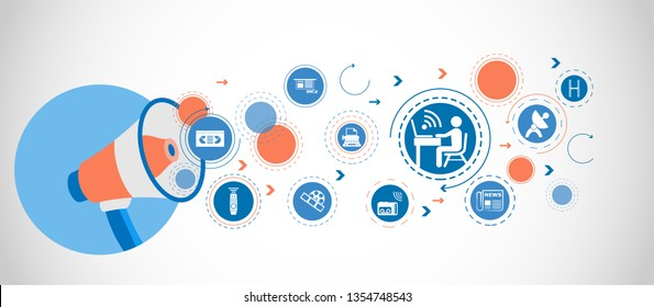 man sitting on the table with WiFi icon around the laptop icon. Detailed set icons of media element icon. Premium quality graphic design. One of the collection icons for websites