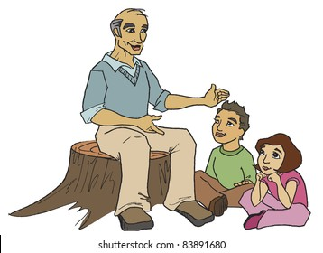 Man sitting on tree stump telling story to boy and girl; grandpa telling story to grandson and granddaughter outside.
