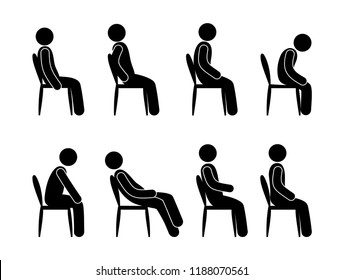 man sitting, set of pictograms, different poses, icon of human silhouette