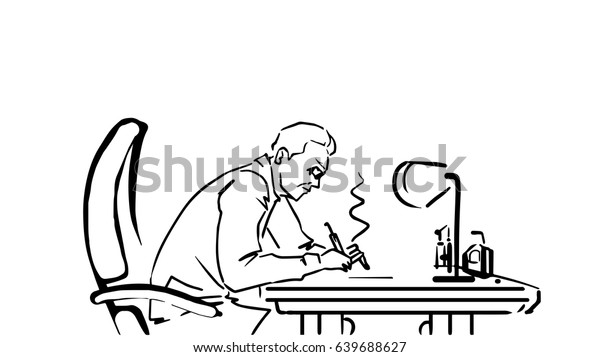 Man Sitting Table Working Black White Stock Illustration