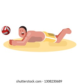 Man sketch playing voleyball.   illustration,