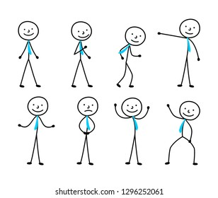 man sketch, set of figures, isolated people hand-drawn stick figure