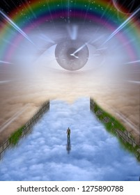 Man in the sky stands before the eye of creator. 3D rendering