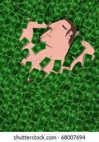 Man sleeps covered with a heap of bills