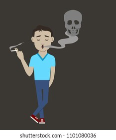 A man smoked a cigarette standing next to skull smoke , Cartoon character illustration  on brown background