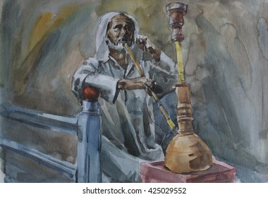 Man Smoking Hookah - Painting