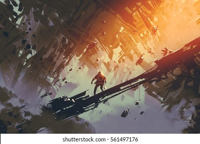 man standing in abstract architecture city,illustration painting