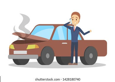 Man standing at the broken car and calling to the mechanic on the phone. Automobile repair service. Smoke from the auto. Flat illustration