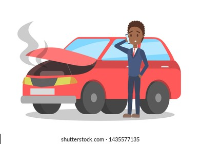 Man standing at the broken red car and calling to the mechanic on the phone. Automobile repair service. Smoke from the auto. Flat illustration