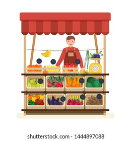 Man standing at counter of greengrocer's shop or marketplace and selling fruits and vegetables. Male seller at place for selling food products on local farmers' market. Flat illustration