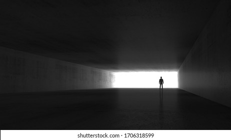 A man standing in the end of an empty dark concrete corridor, 3d rendering illustration