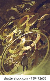 man standing in front of the big golden clockwork, digital art style, illustration painting