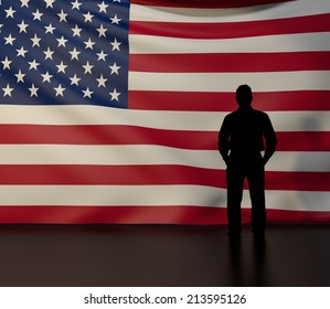 Man standing in front of flag of united states of america; stage presentations