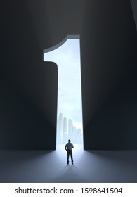 man standing in front of an open door in shape of number one, 3d illustration
