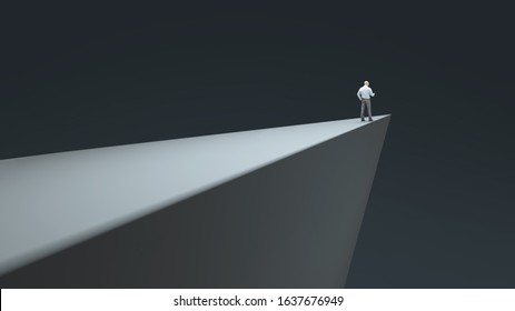 man standing on the edge of the abyss, 3d illustration