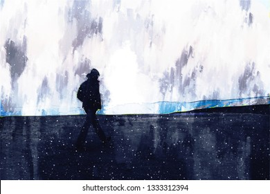Man standing on hill, lonely man illustration image, digital painting
