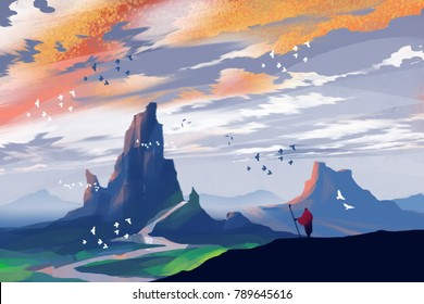 a man standing on the hill and seeing mountains in sunset time, digital art illustration.