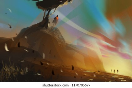 man standing on hill under a big tree in sunset, digital illustration art painting design style.