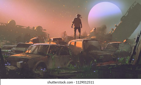 man standing on roof of abandoned car in vehicle graveyard at sunset, digital art style, illustration painting