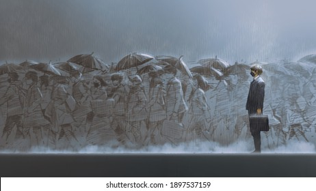 a man standing in the rain among people holding umbrellas walks across the street, digital art style, illustration painting