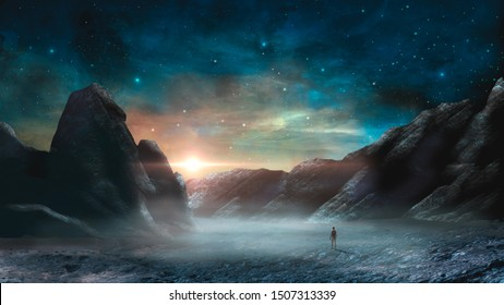 Man standing in sci-fi landscape with rock valley, star and sun. Digital painting illustration. Element furnished by NASA. 3d rendering