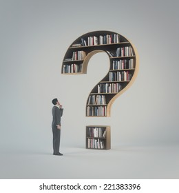 A man stands in front of a large closet with books in the form of a question mark, and think what choice to make.