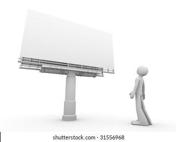 man stands near copyspaced bigboard looking at it