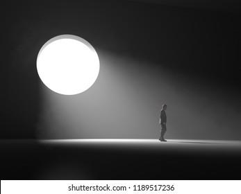man stands near a light window in a dark room, 3d illustration