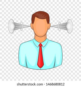 Man with steam coming out of ears icon. Cartoon illustration of human emotion icon for web design