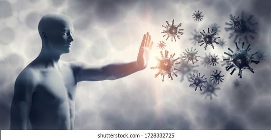 Man stopping coronavirus. Immune system defend from corona virus COVID-19. 3D render