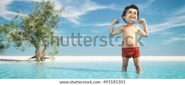 Man stretches  in the ocean on a palm beach with an exotic tree . This is a 3d render illustration