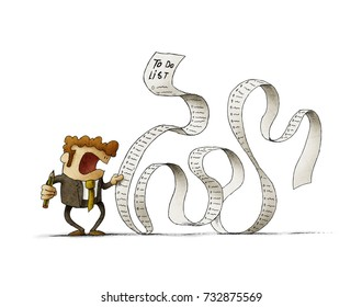 Man in a suit, businessman or manager, hold a long list or scroll of tasks. isolated, white background.