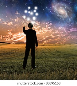 Man in suit conceptualizes touches sky creating ripples