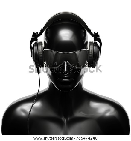 Man in Sunglasses with Headphones on White Background. 3D illustration