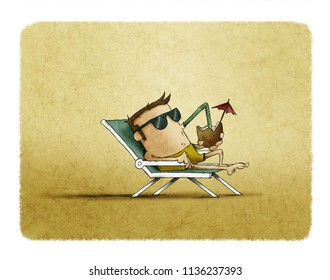 man with sunglasses on the beach relaxing and drinking cocktail under the heat of the sun. Contemporary style. illustration