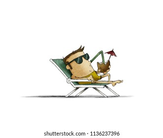 man with sunglasses on the beach relaxing and drinking cocktail under the heat of the sun. Contemporary style. isolated illustration