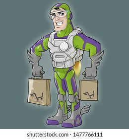 a man superman or transformer in a suit delivers food in packages or bags., illustration