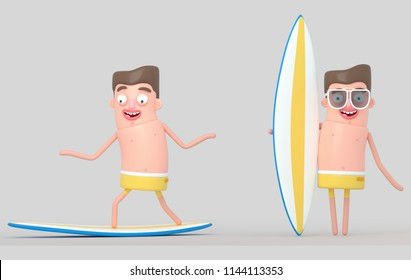 Man surfing. Surf board surfing table training sport extreme exercise healthy hobby. 3d illustration